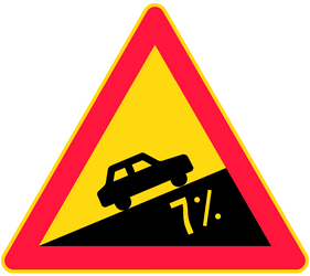 Traffic sign of Finland: Warning for a steep ascent