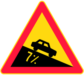 Traffic sign of Finland: Warning for a steep descent