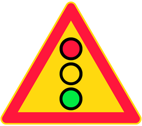Traffic sign of Finland: Warning for a traffic light