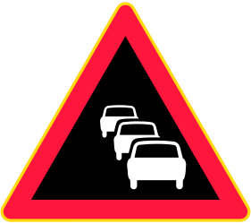 Traffic sign of Finland: Warning for traffic jams