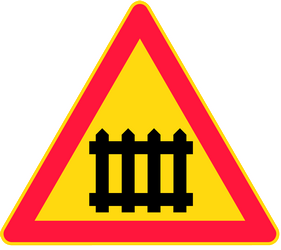 Traffic sign of Finland: Warning for a railroad crossing with barriers