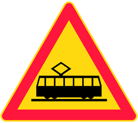 Traffic sign of Finland: Warning for trams