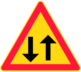 Traffic sign of Finland: Warning for a road with two-way traffic