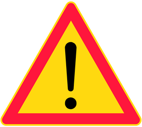 Traffic sign of Finland: Warning for a danger with no specific traffic sign