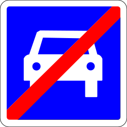 Traffic sign of France: End of the expressway