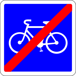 Traffic sign of France: End of the lane for cyclists