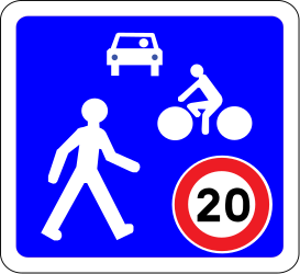 Traffic sign of France: Begin of a residential area
