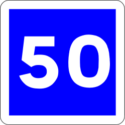 Traffic sign of France: Begin of an advisory speed limit