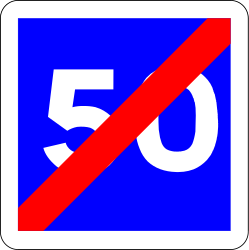Traffic sign of France: End of the advisory speed limit