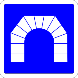 Traffic sign of France: Begin of a tunnel