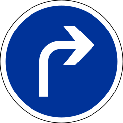 Traffic sign of France: Turning right mandatory