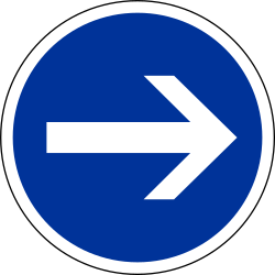 Traffic sign of France: Mandatory right