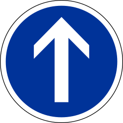 Traffic sign of France: Driving straight ahead mandatory