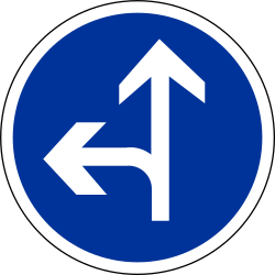 Traffic sign of France: Driving straight ahead or turning left mandatory