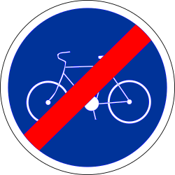 Traffic sign of France: End of the path for cyclists
