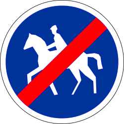 Traffic sign of France: End of the path for equestrians