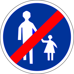 Traffic sign of France: End of the path for pedestrians