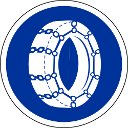 Traffic sign of France: Snow chains mandatory
