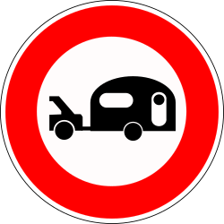 Traffic sign of France: Caravans prohibited