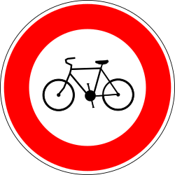 Traffic sign of France: Cyclists prohibited