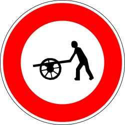 Traffic sign of France: Handcarts prohibited