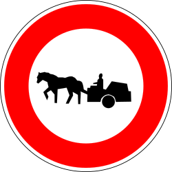 Traffic sign of France: Horsecarts prohibited