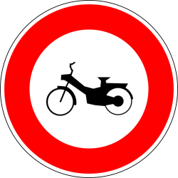 Traffic sign of France: Mopeds prohibited