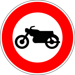 Traffic sign of France: Motorcycles prohibited