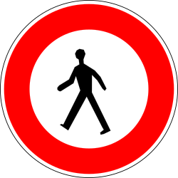 Traffic sign of France: Pedestrians prohibited