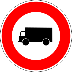 Traffic sign of France: Trucks prohibited