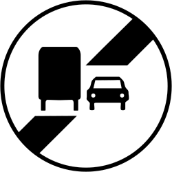 Traffic sign of France: End of the overtaking prohibition for trucks