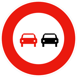 Traffic sign of France: Overtaking prohibited