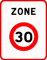 Traffic sign of France: Begin of a zone with speed limit