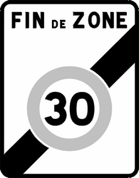 Traffic sign of France: End of the zone with speed limit