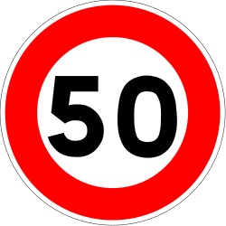 Traffic sign of France: Begin of a speed limit