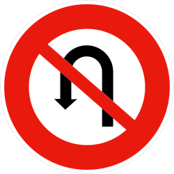 Traffic sign of France: Turning around prohibited (U-turn)