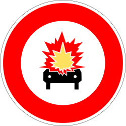 Traffic sign of France: Vehicles with explosive materials prohibited