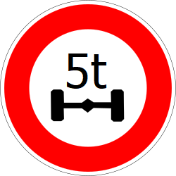 Traffic sign of France: Vehicles with an axle weight heavier than indicated prohibited