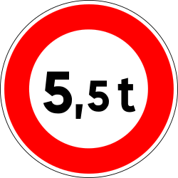 Traffic sign of France: Vehicles heavier than indicated prohibited