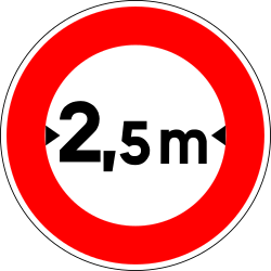 Traffic sign of France: Vehicles wider than indicated prohibited