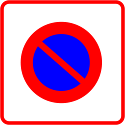 Traffic sign of France: Begin of zone where parking is prohibited