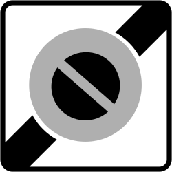 Traffic sign of France: End of the zone where parking is prohibited