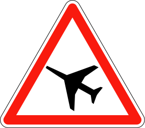 Traffic sign of France: Warning for low-flying aircrafts