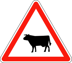 Traffic sign of France: Warning for cattle on the road