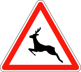 Traffic sign of France: Warning for crossing deer