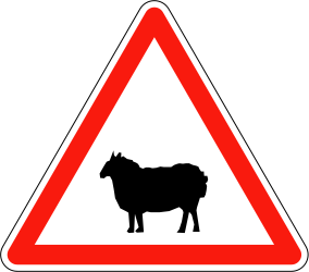Traffic sign of France: Warning for sheep on the road
