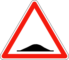 Traffic sign of France: Warning for a speed bump