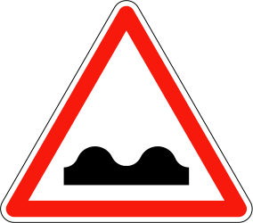 Traffic sign of France: Warning for a bad road surface