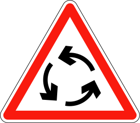 Traffic sign of France: Warning for a roundabout