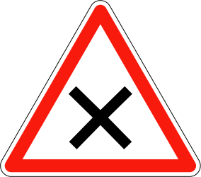 Traffic sign of France: Warning for an uncontrolled crossroad